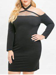 Plus Size Cutout Lace Panel Halter Bodycon Dress -