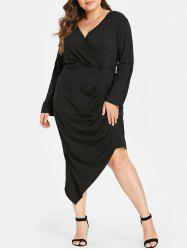 Plus Size Long Sleeves Asymmetric Bodycon Dress -