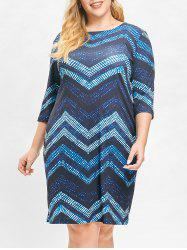 Plus Size Color Block Chervon Stripes Bodycon Dress -