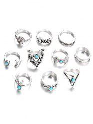 10Pcs Faux Turquoise Rose Geometric Hollow Rings -