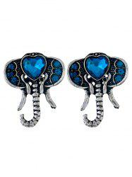 Faux Sapphire Elephant Stud Earrings -