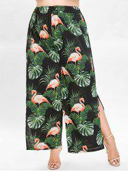 Leaf and Flamingo Print Plus Size Wide Leg Pants -