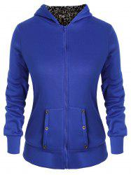 Plus Size Zipper Fly Fleece Hoodie with Pocket -