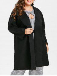 Plus Size Open Front Longline Coat with Pockets -