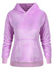 Plus Size Pullover Fluffy Hoodie with Pocket -