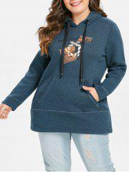 Plus Size Front Pocket Graphic Pullover Hoodie -