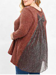 Plus Size Fleece Sweater with Bowknot -