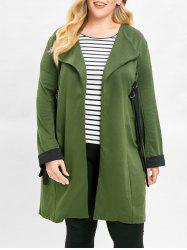 Plus Size Contrast Longline Coat with Open Front -