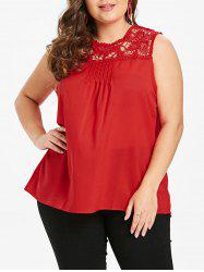 Plus Size Solid Color Tank Top with Lace -
