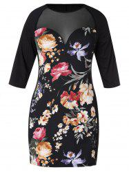 Plus Size Mesh Panel Floral Bodycon Dress -