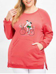 Plus Size Pullover Embroidered Fleece Sweatshirt with Slit -