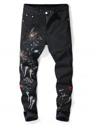 Firework Pattern Embroider Stretchy Cuffed Jeans -