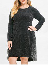Plus Size Asymmetric Long Sleeves Dress with Panel -