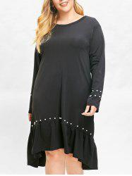 Plus Size Faux Pearls Asymmetric Drop Waisted Dress -