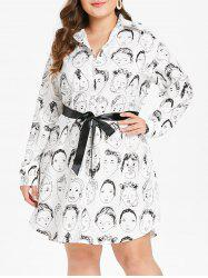Cartoon Characters Plus Size Printed Belt Shirt Dress -
