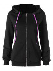 Contrast Lace Up Zip Up Hoodie -
