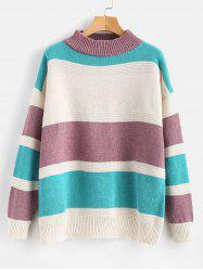 Plus Size Color Block Drop Shoulder Sweater -