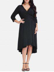 Plus Size Asymmetrical Midi Surplice Dress -