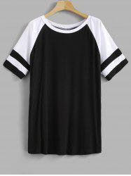 Striped Panel Plus Size Raglan Sleeve T-shirt -