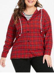Plus Size Plaid Long Sleeves Hooded Jacket -