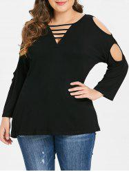 Ladder Cut Out Long Sleeve Plus Size T-shirt -