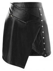 Asymmetrical High Waisted Faux Leather Skirt -