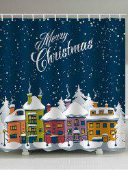 Christmas Night House Print Waterproof Bathroom Shower Curtain -