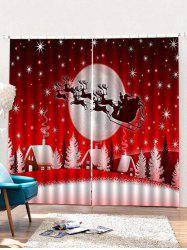 2PCS Father Christmas Elk Pattern Window Curtains -