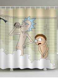 Cartoon Grandpa with Grandson Waterproof Shower Curtain -