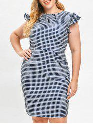 Ruffle Trim Plus Size Gingham Dress -