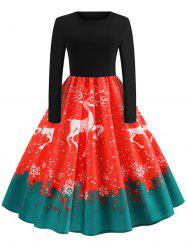 Vintage Reindeer Snowflake Print Christmas Dress -