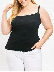 Plus Size Scalloped Ribbed Cami Top -
