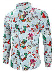 Christmas Santa Candy Gift Print Long Sleeves Shirt -