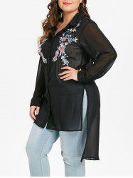 Plus Size Floral Embroidered Slit Asymmetric Tunic Top -