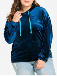 Plus Size Pullover Velvet Hoodie with Front Pocket -