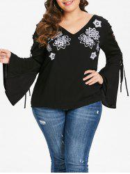 Plus Size Embroidered V Neck Tee with Lace Up -