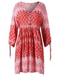 Zigzag Print V Neck Dress -