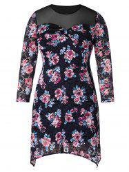 Plus Size Mesh Panel Floral Mini Dress -