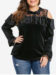 Plus Size Flounce Velvet Tee with Lace -