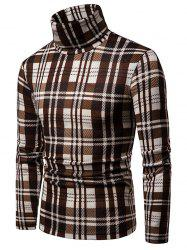 Plaid High Collar Long Sleeve Sweater -