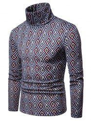 Rhombus Printing High Collar Sweater -