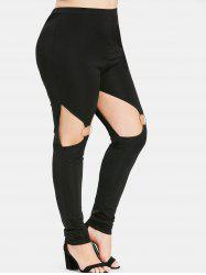 Plus Size High Skinny Cutout Leggings with Rings -