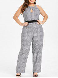 Plus Size High Waisted Plaid Keyhole Jumpsuit -