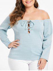 Plus Size Off Shoulder Tee with Lace Up -