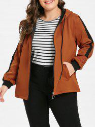 Plus Size Embroidered Two Tone Fleece Jacket -