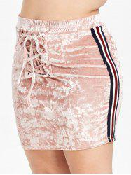 Plus Size Velvet Bodycon Skirt with Lace Up -