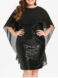 Plus Size Capelet Bodycon Sequin Party Dress with Slit -