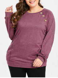 Round Neck Plus Size Button Detail T-shirt -