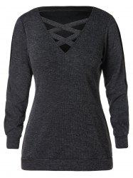 Plus Size Cut Out Criss Cross Neck Sweater -
