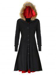 Plus Size Lace UP Fuzzy Hooded Coat -